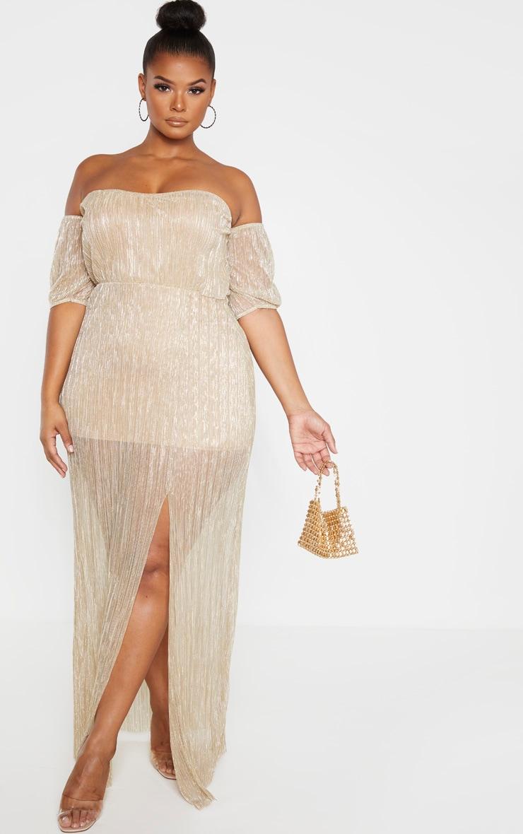 Plus Gold Plisse Bardot Split Detail Maxi Dress 1