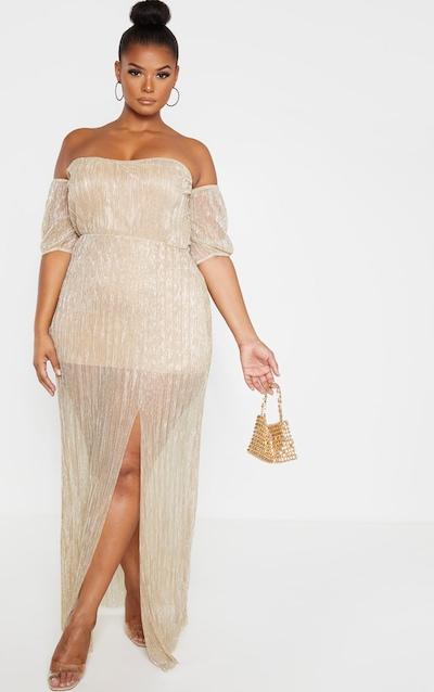 Plus Gold Plisse Bardot Split Detail Maxi Dress