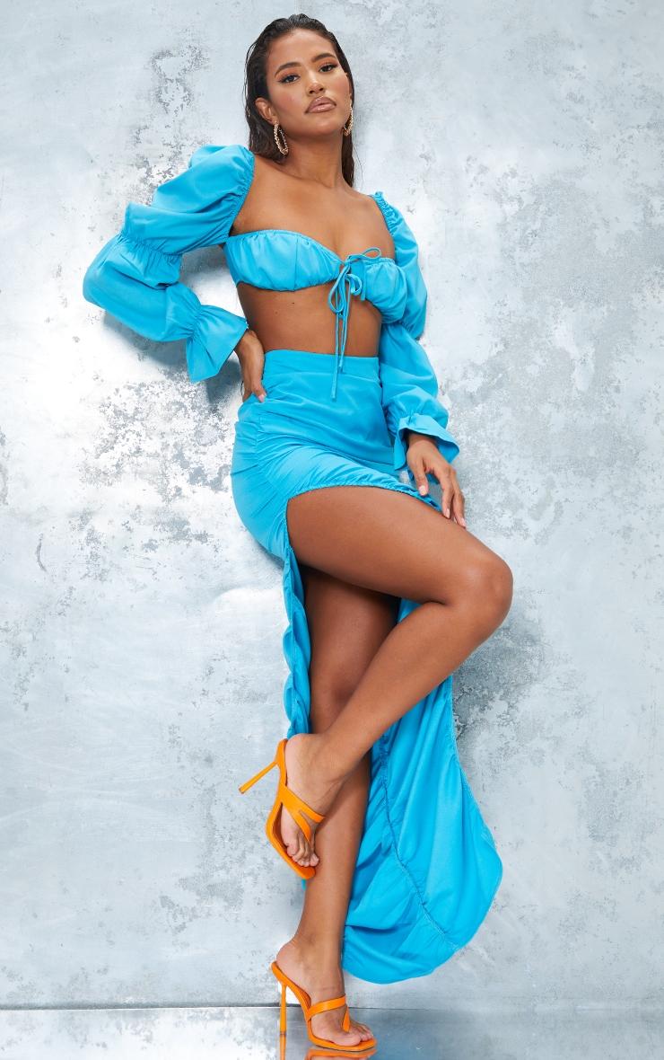 Bright Blue Woven Ruched Side Detail Split Leg Midaxi Skirt 1