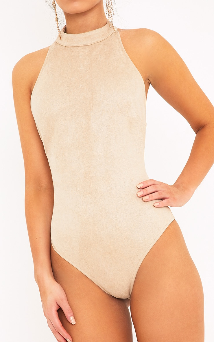 Leigh Mink Suedette Backless Thong Bodysuit  6
