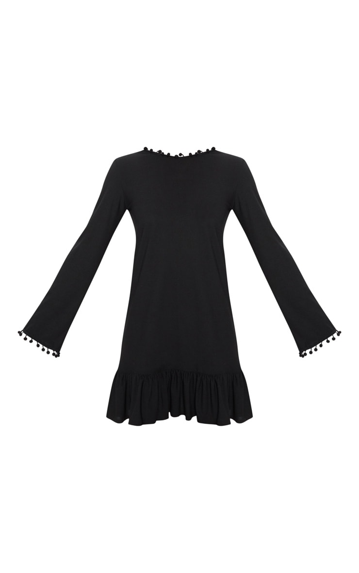 Black Pom Pom Trim Backless Shift Dress 3