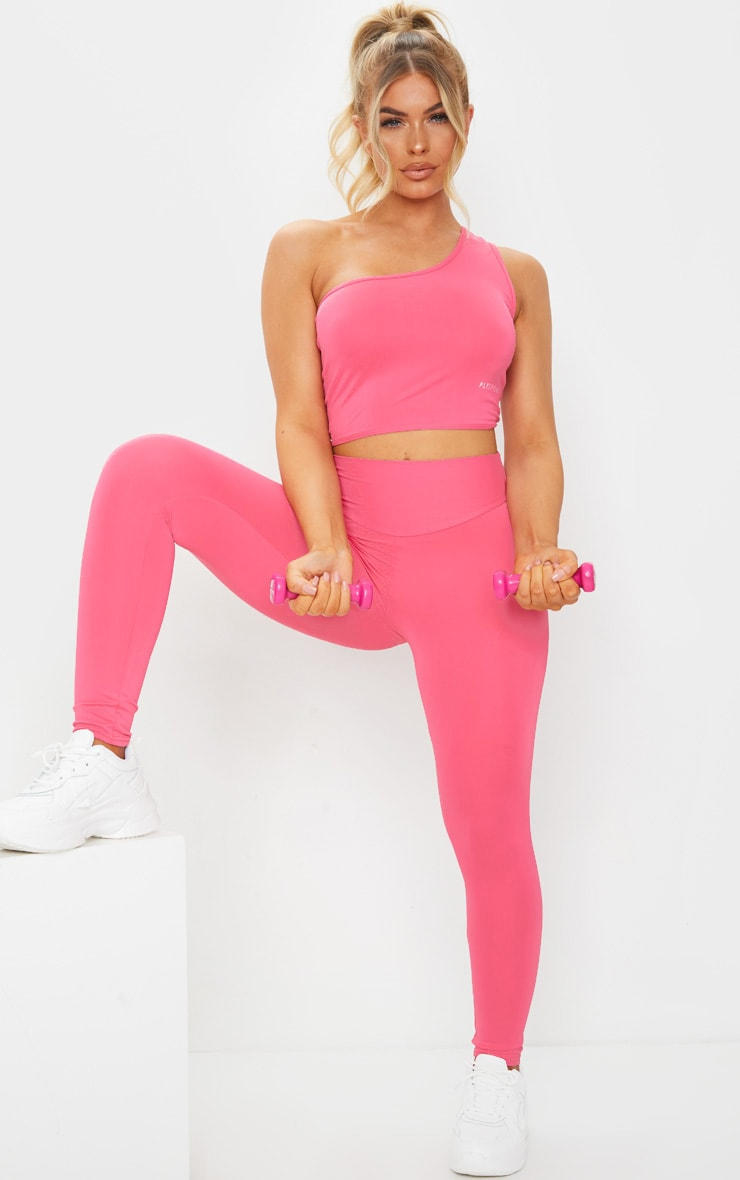 PRETTYLITTLETHING Hot Pink Sport One Shoulder Sports Top 3