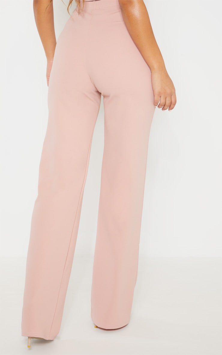 Dusty Pink Crepe High Waisted Wide Leg Pants 4