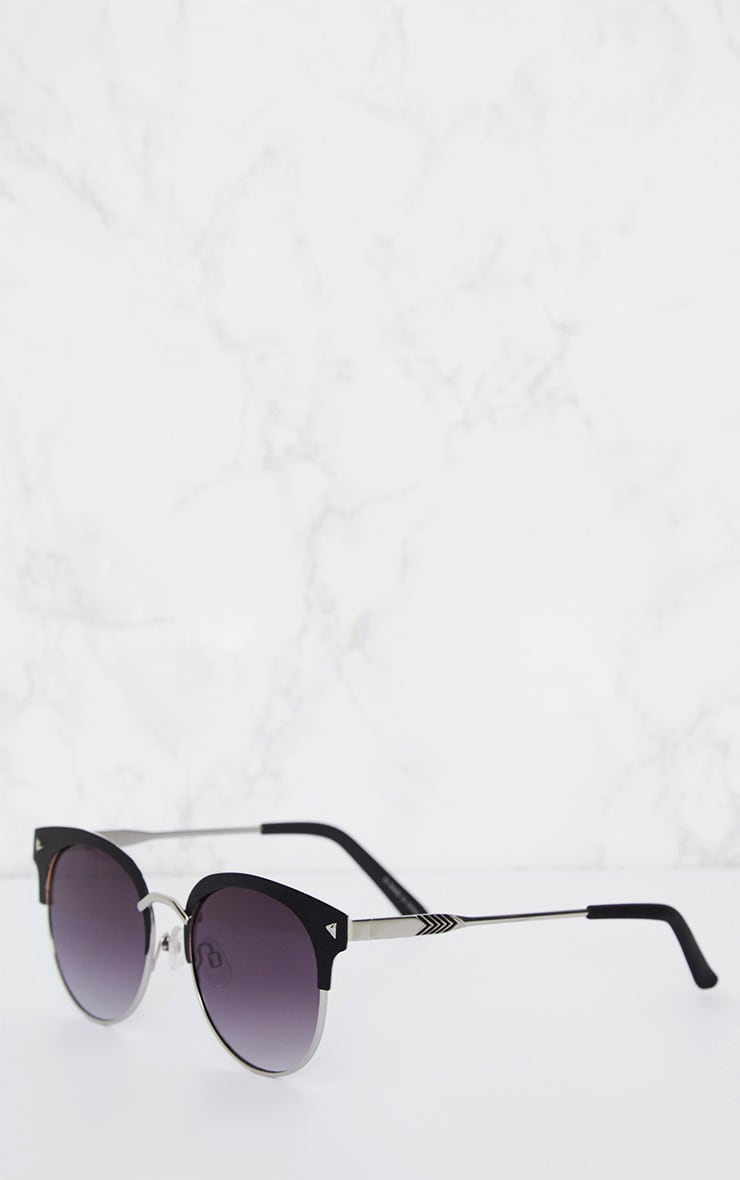 Black Frame Rounded Aviator Sunglasses 3