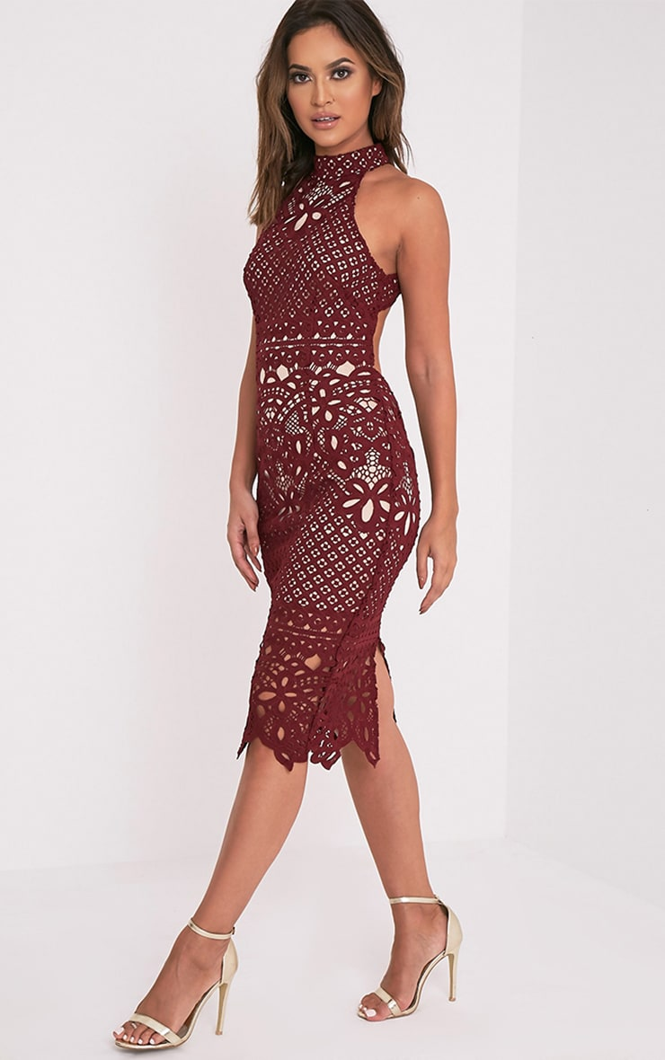 Hanny Burgundy Crochet Lace Backless Midi Dress 1