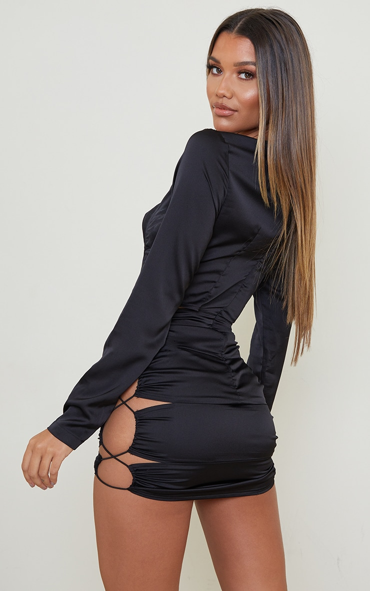 Black Satin Hip Cut Out Long Sleeve Bodycon Dress 2