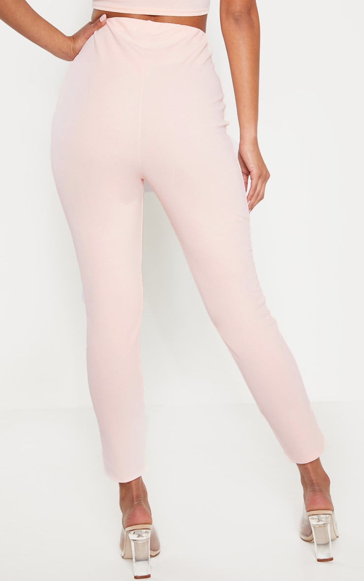 Pale Pink High Waisted Pleated Front Detail Skinny Pants 4