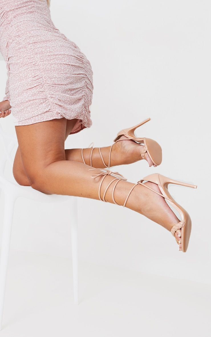 Nude Platted Strap Lace Up Heel Sandals 2