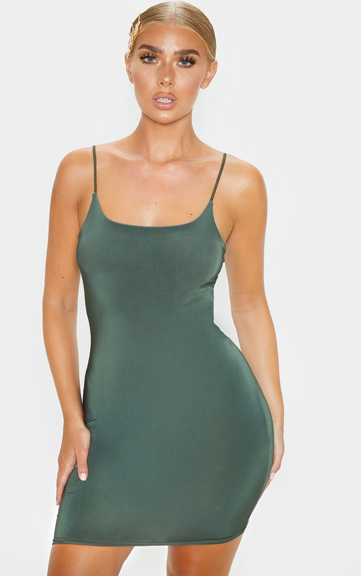 Khaki Slinky Spaghetti Strap Bodycon Dress 1