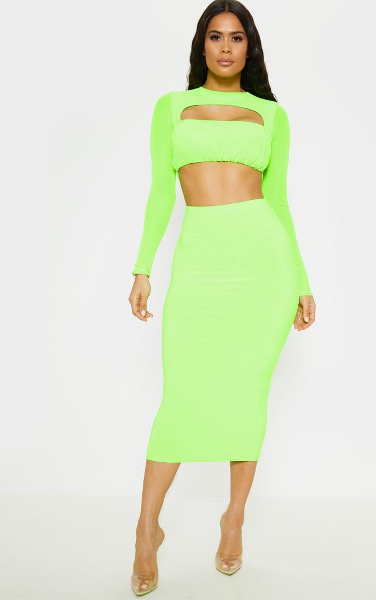 Neon Lime Slinky Midaxi Skirt 1
