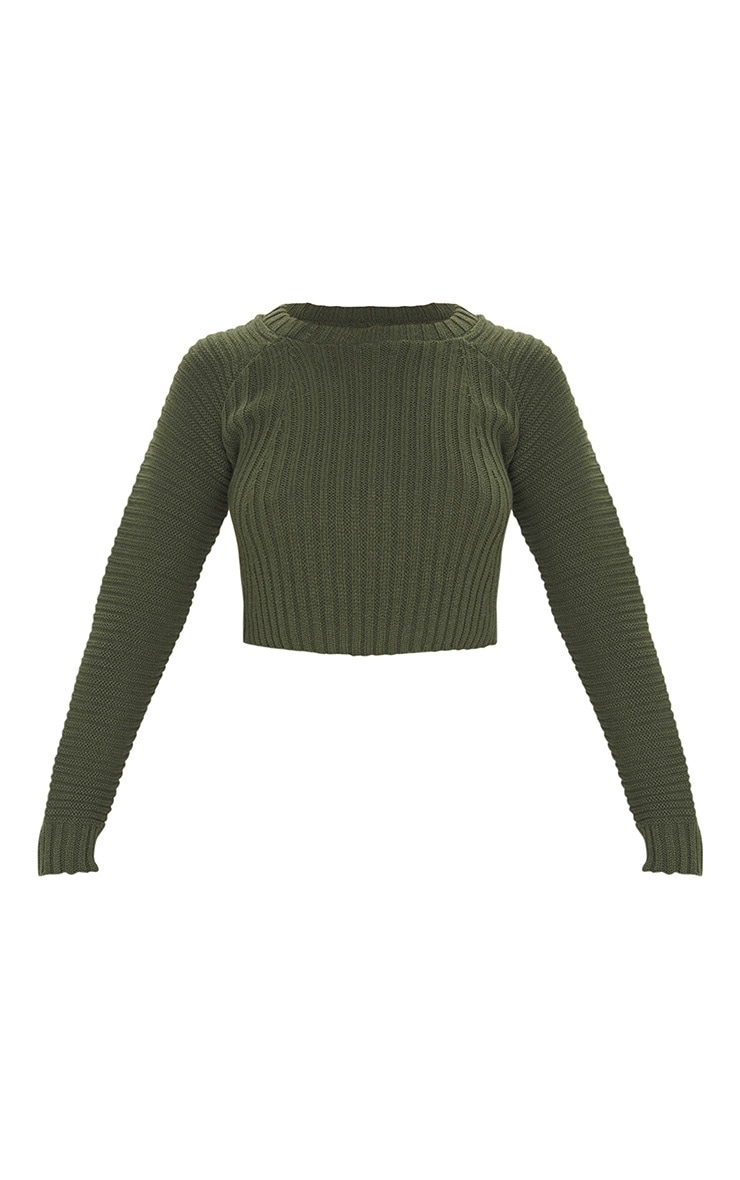 Khaki Cropped Rib Knit Jumper 3