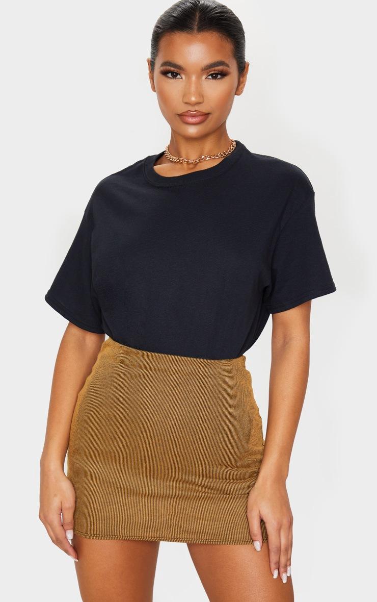 Camel Contrast Rib Mini Skirt 5