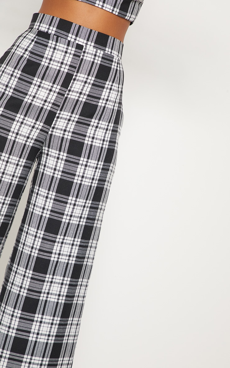Monochrome Check High Waisted Wide Leg Trousers 6