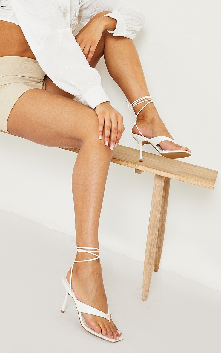White PU Toe Thong Lace Up Mid Heeled Sandals 2