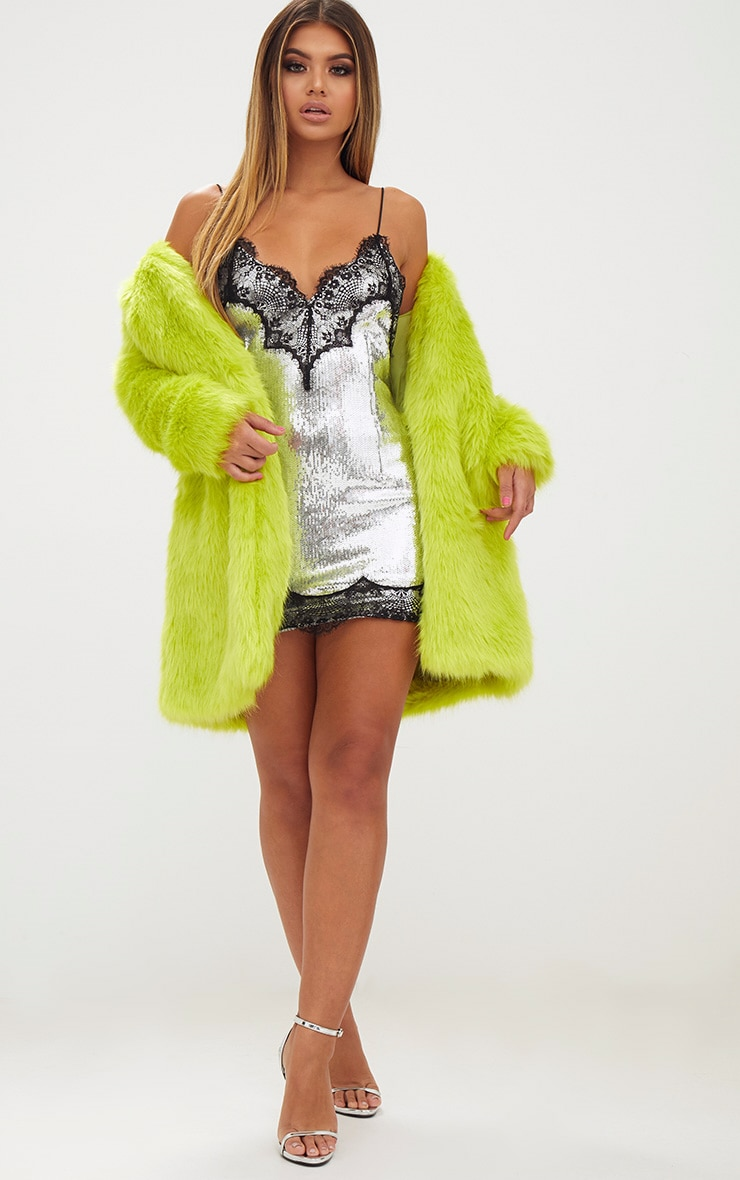Lime Faux Fur Coat 4