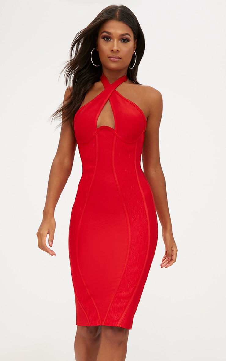 Red Lace Detail Cross Front Bandage Midi Dress 1