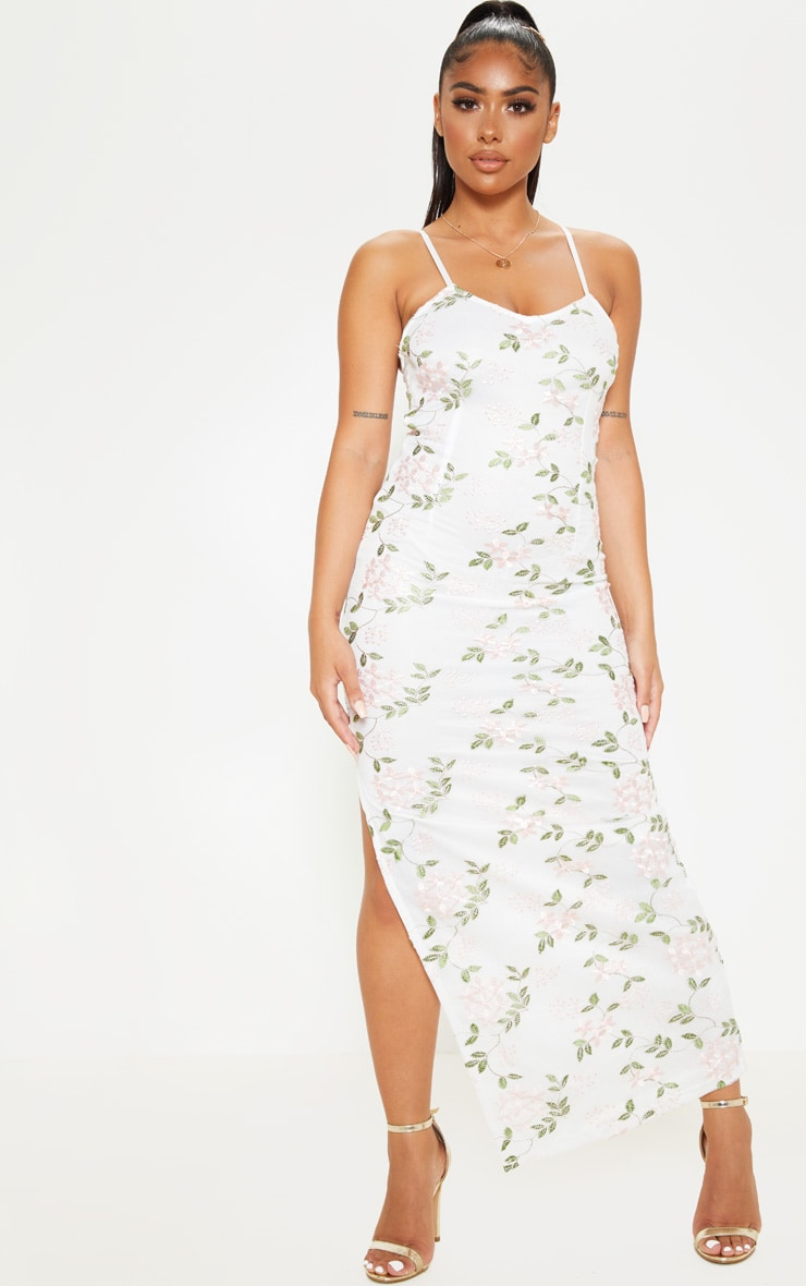 7bfe29c908f Petite White Strappy Embroidered Floral Print Maxi Dress image 1