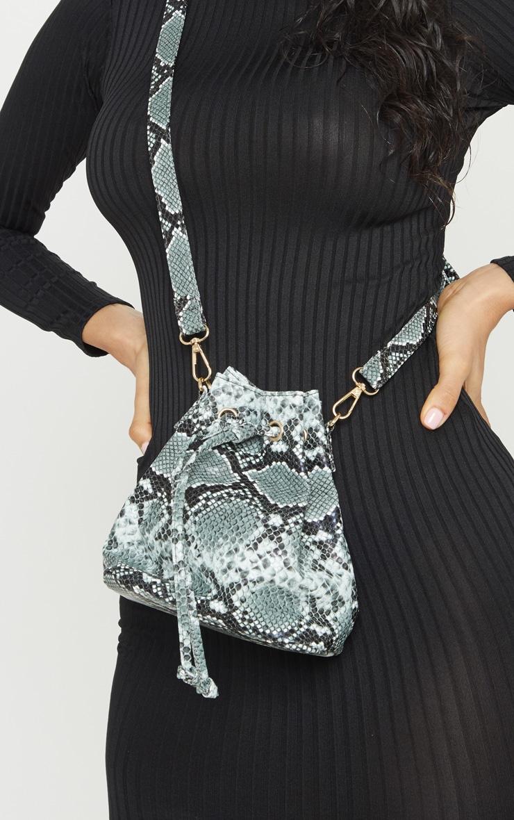 Grey Snake Print Duffle Cross Body Bag 2