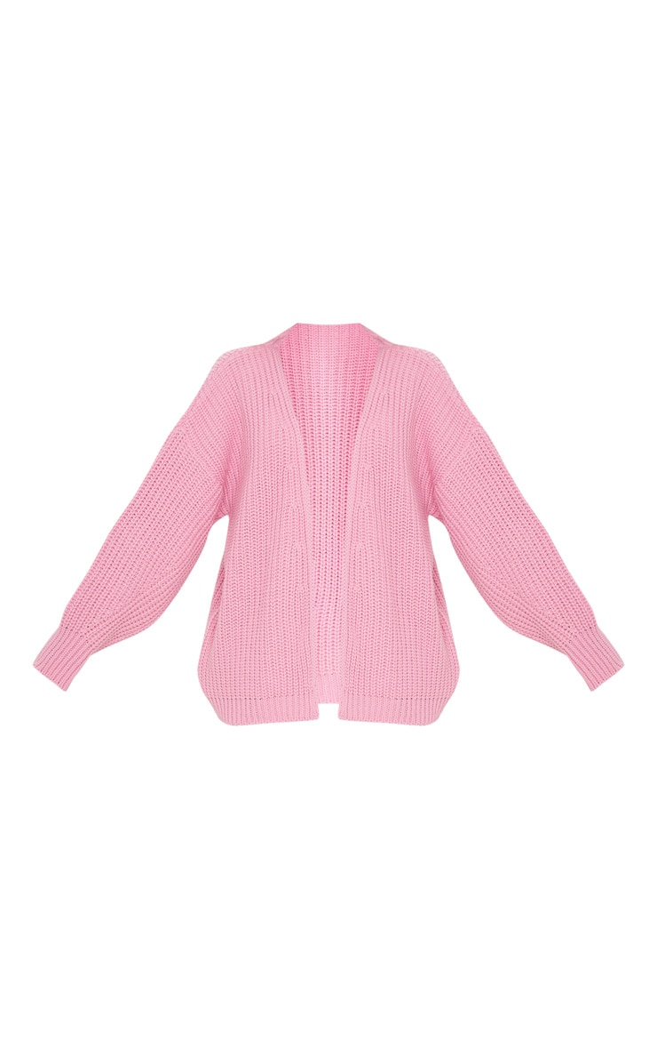 Cardigan ample à grosse maille rose 3