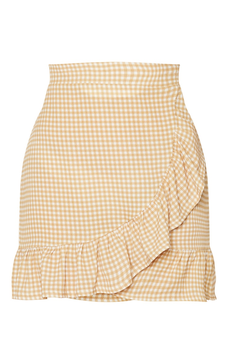 Stone Gingham Frill Hem Wrap Mini Skirt 6