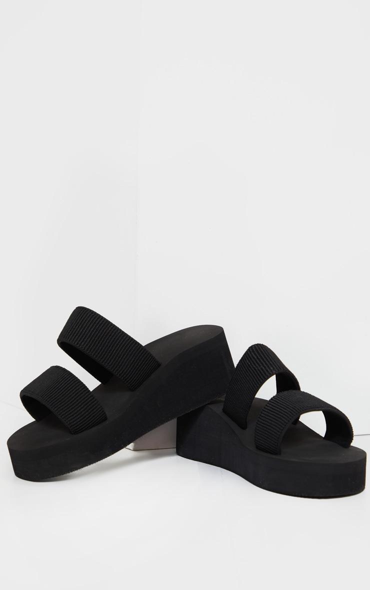 Black Wide Fit Twin Mule Wedges 3