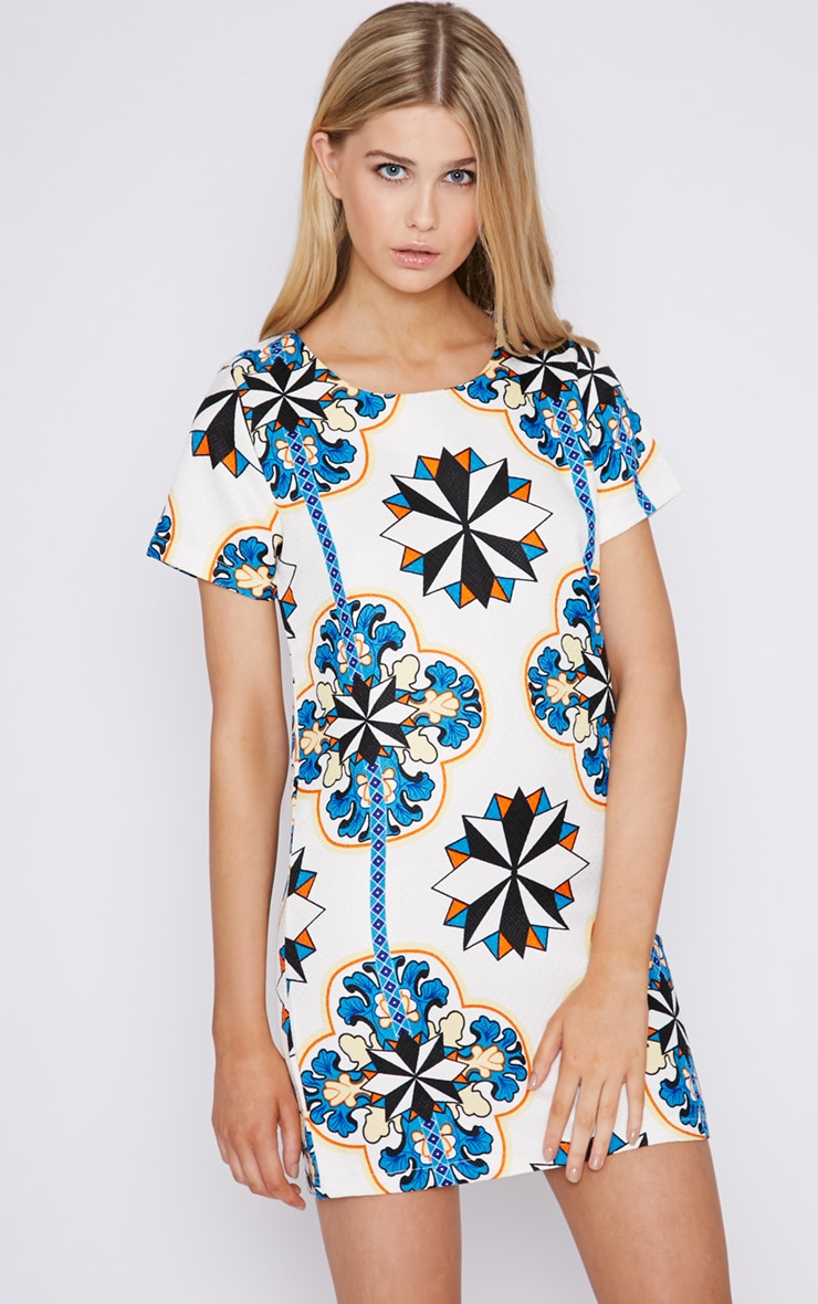 Bailey Abstract Print Quilted Shift Dress 3