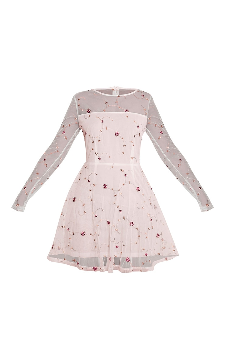 Eena Dusty Pink Embroidered Floral Prom Dress 3