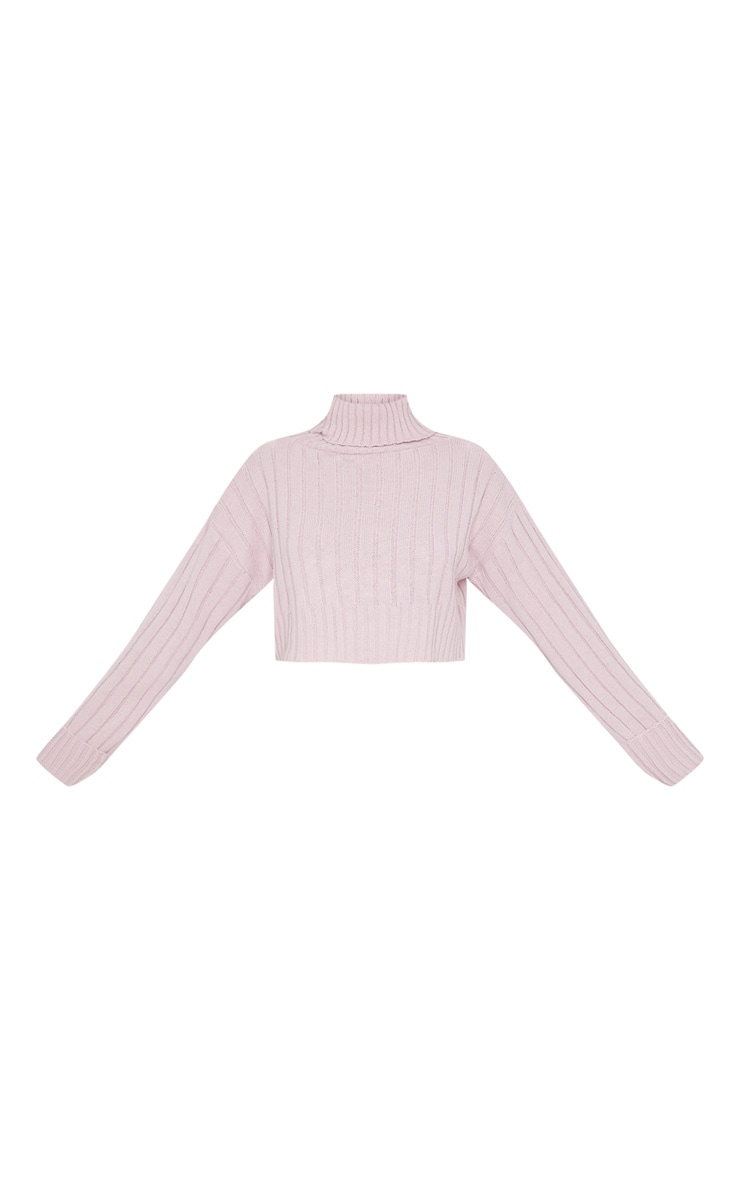 Rose Knitted Rib Cropped Sweater 3