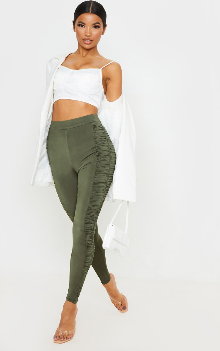 Khaki Ruched Side Slinky Legging