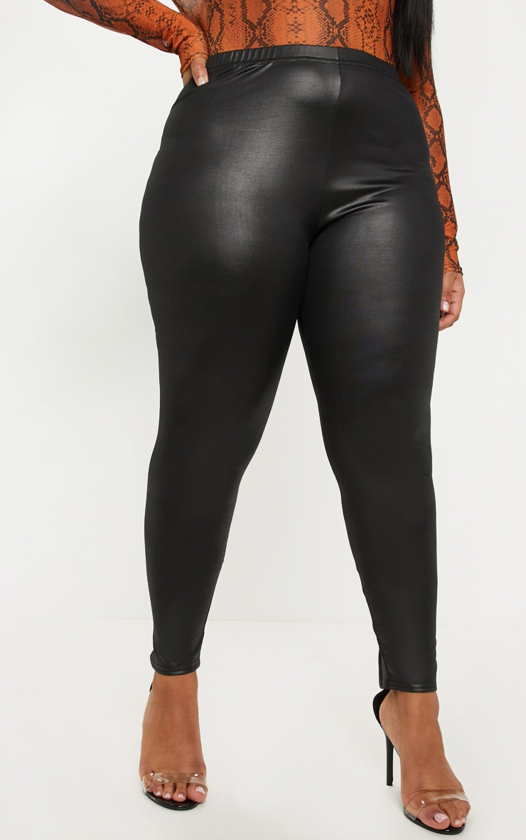 Plus Black PU Detail Legging 2