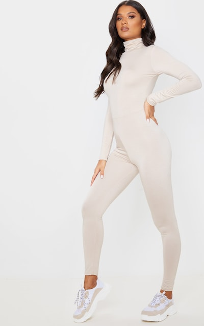 Stone Roll Neck Long Sleeve Jumpsuit