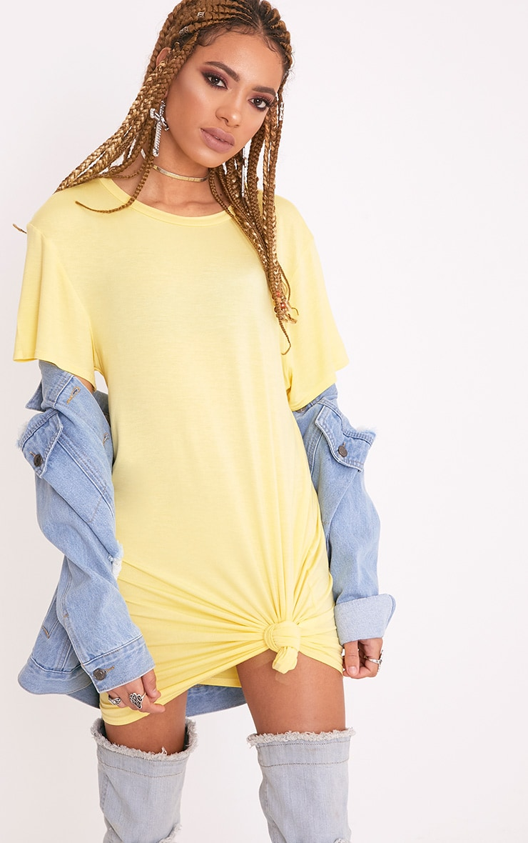 Basic Lemon Short Sleeve T Shirt Dress 1