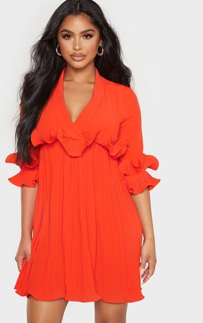 9537a1ad2d Petite - Robe patineuse orange vif à détail plissé PrettyLittleThing Sticker