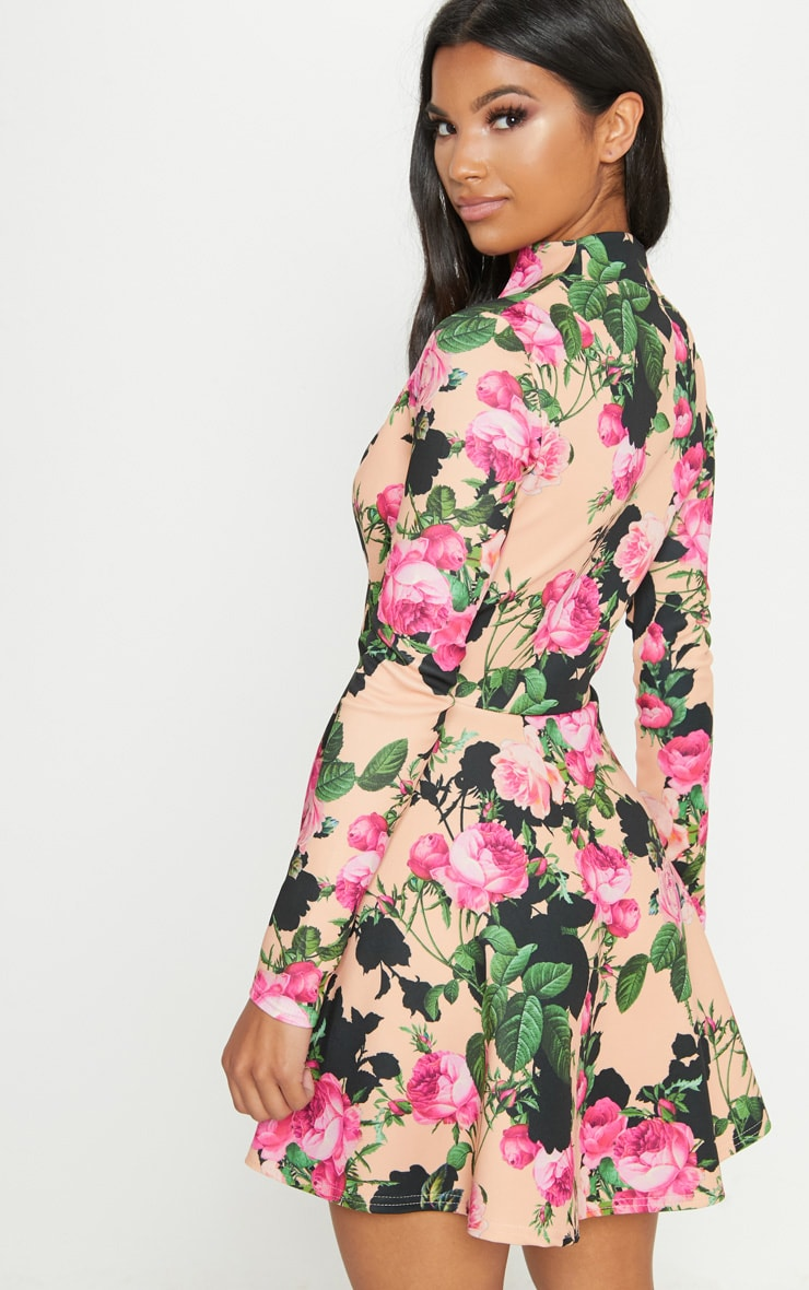 Peach Floral High Collar Detail Plunge Skater Dress 2