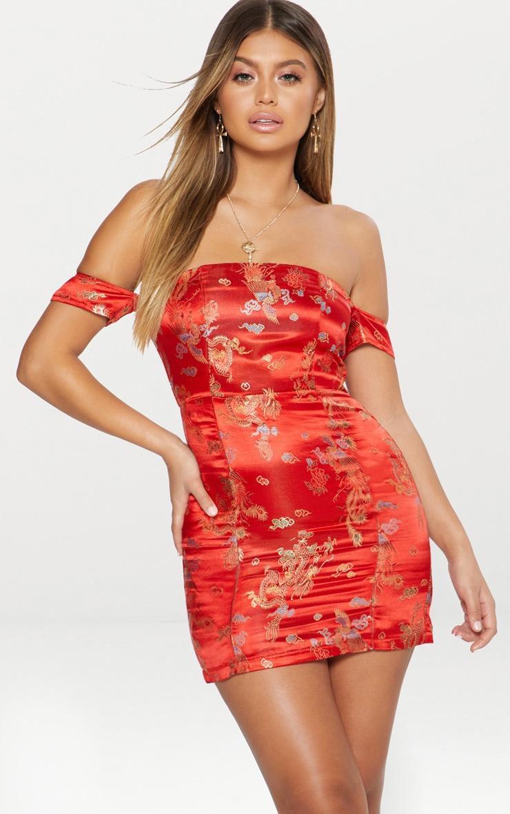 Red Oriental Jacquard Bardot Bodycon Dress Prettylittlething