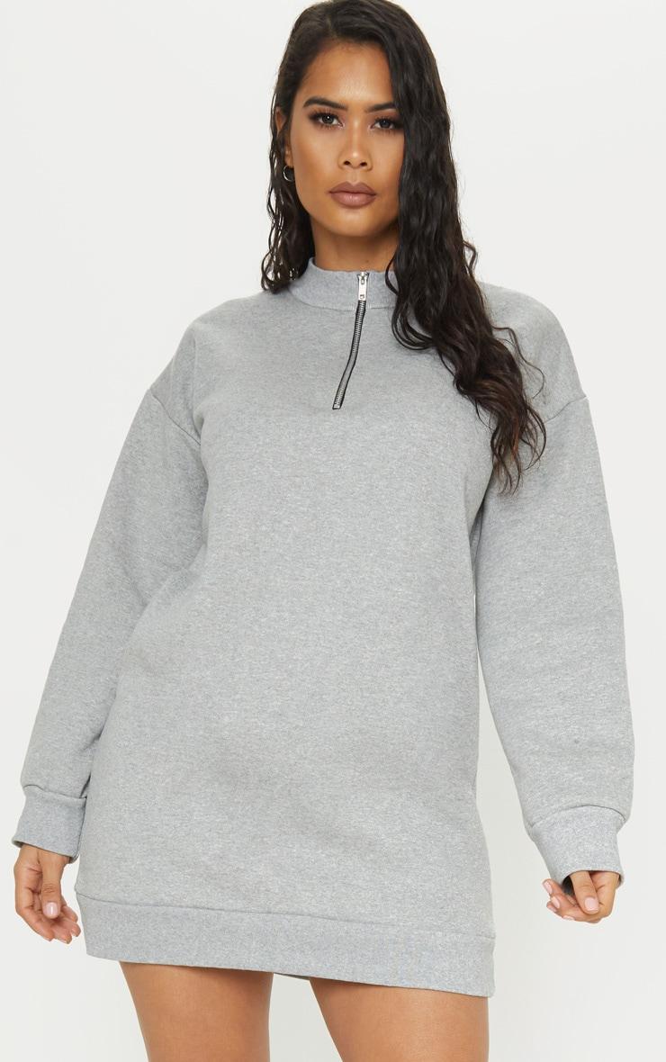Grey Zip High Neck Jumper Dress 1