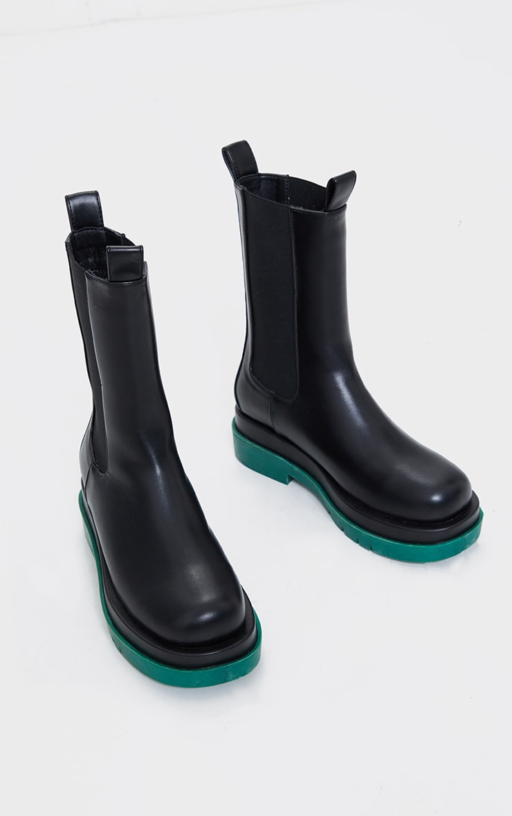 Black Pu Contrast Sole Chunky Sole Chelsea Boots 3