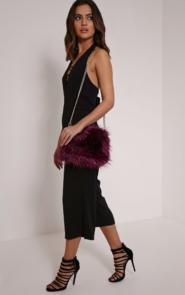 Marny Puple Faux Fur Chain Shoulder Bag 3