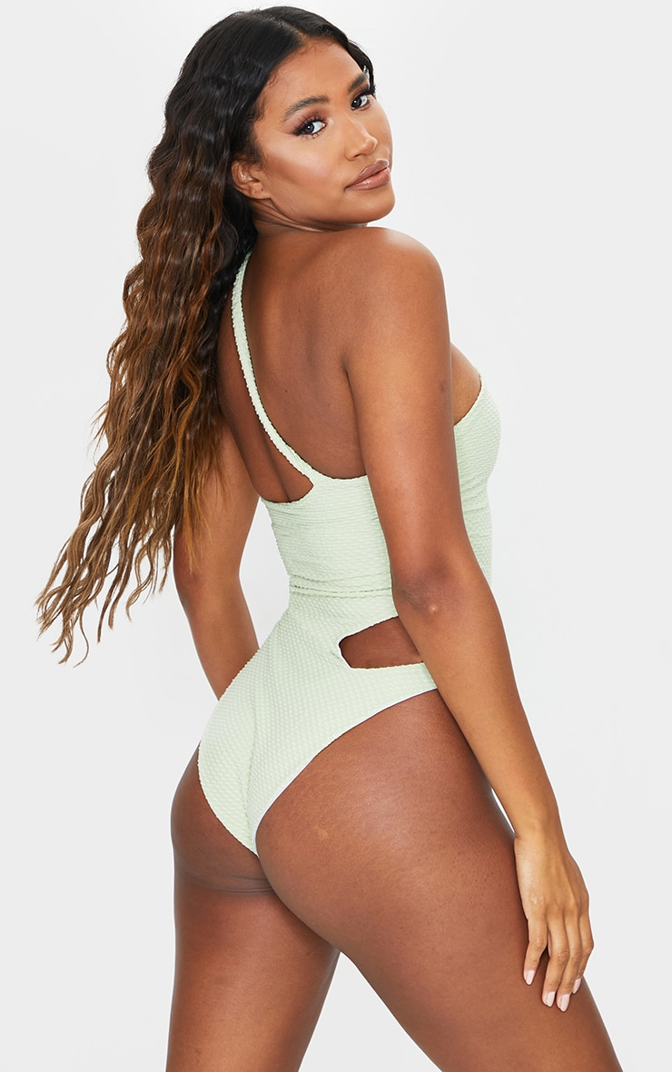 Sage Green Waffle Texture Cut Out Swimsuit 2