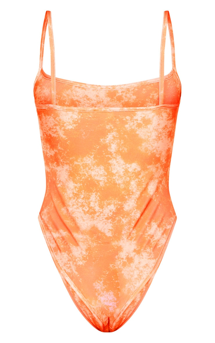 Orange Acid Print Scoop Swimsuit 4