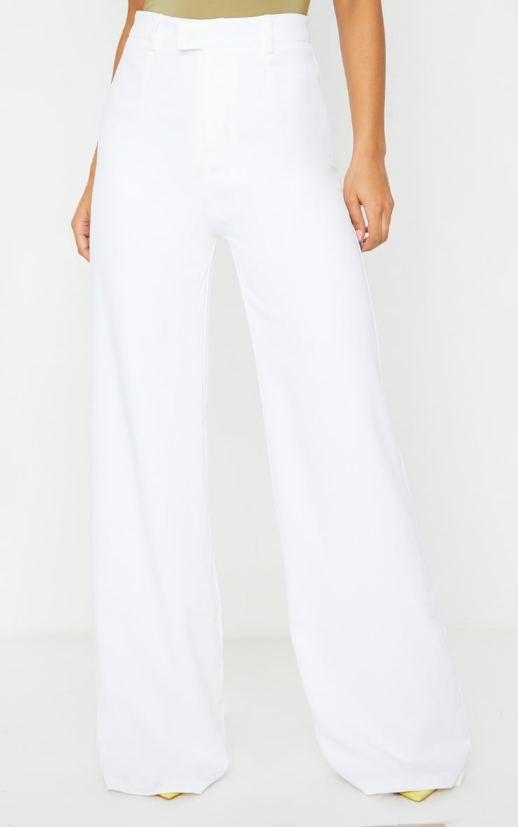 Reemah Cream Wide Leg Crepe Pants 2