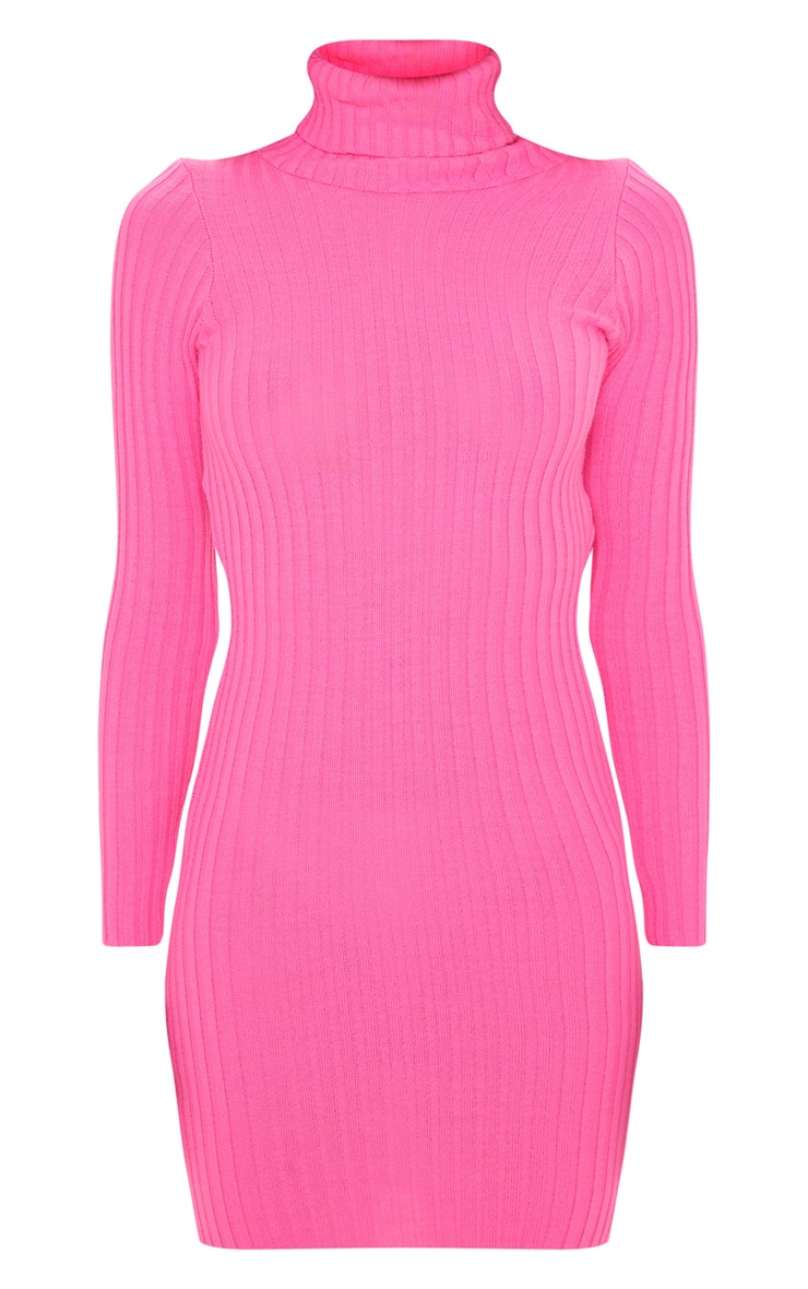 Pink Ribbed Knitted Roll Neck Dress  3