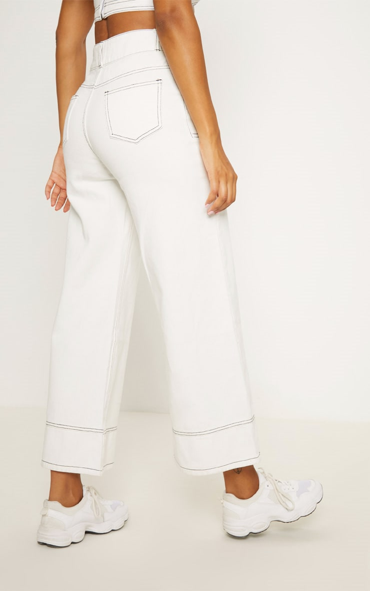 White High Waisted Denim Crop Flares 4