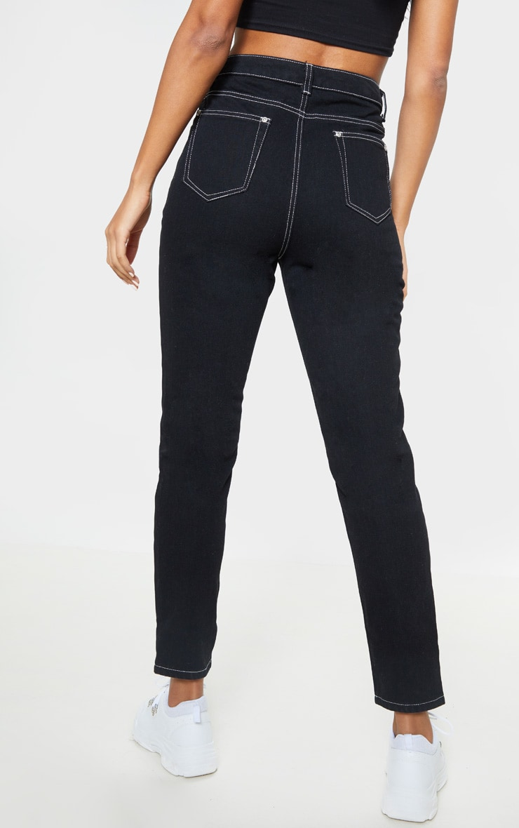 Black Front Seam Straight Jean 4