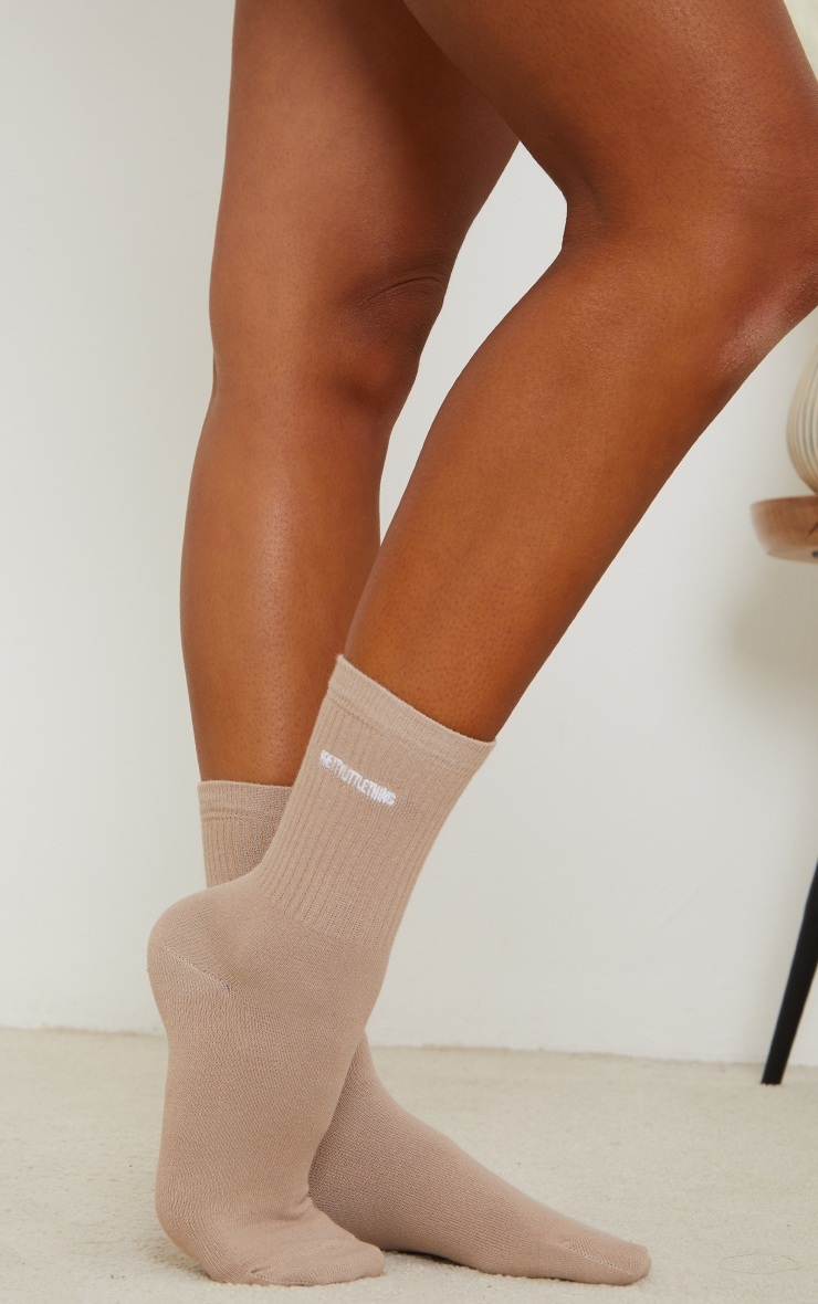 PRETTYLITTLETHING Truffle Ribbed Socks 1