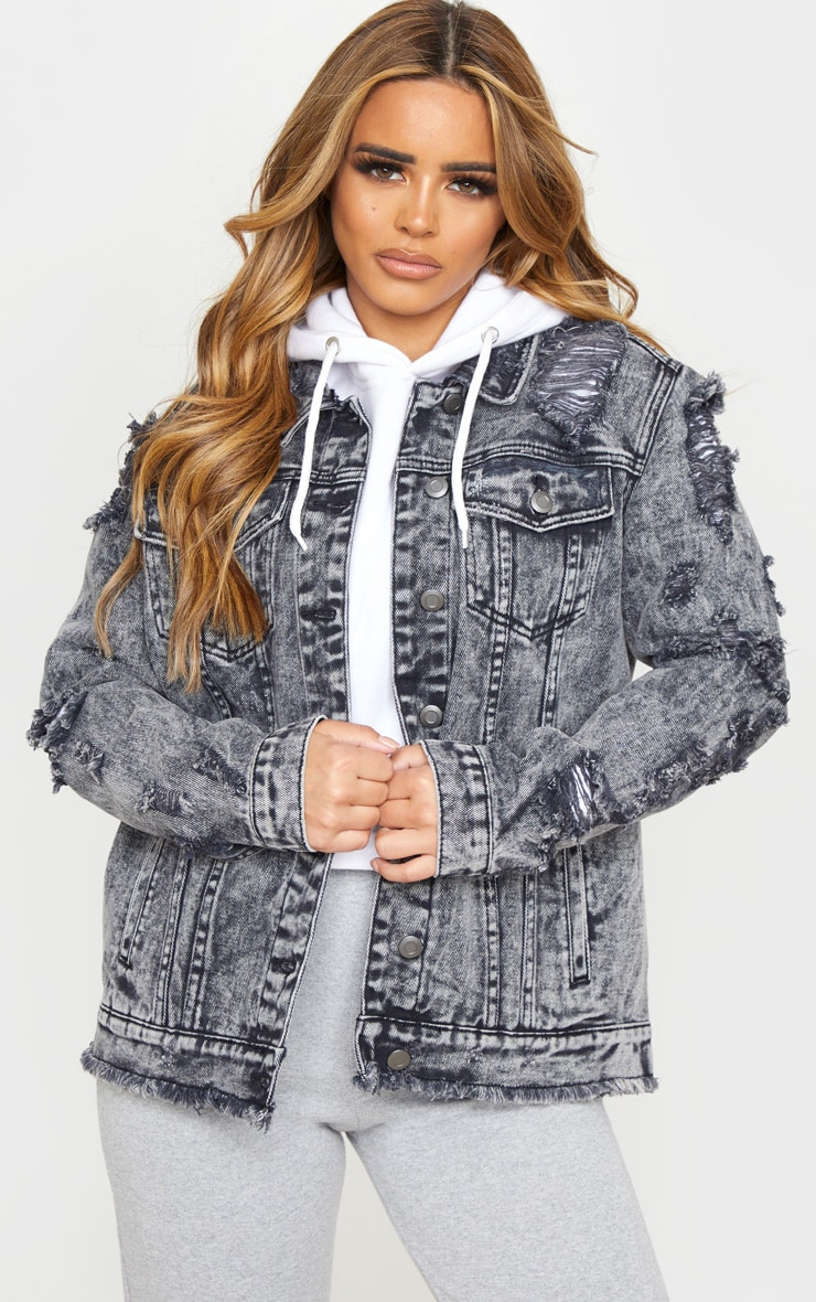 Petite Acid Wash Distressed Denim Jacket 4