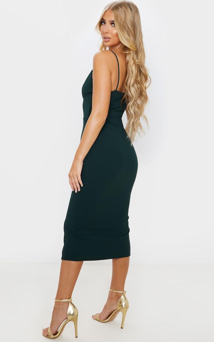 Emerald Green Strappy Plunge Midi Dress 2