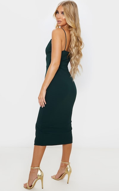 Emerald Green Strappy Plunge Midi Dress