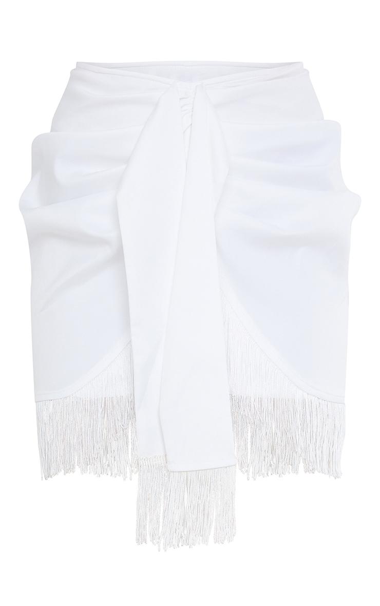 White Woven Tassel Tie Waist Wrap Skirt 6
