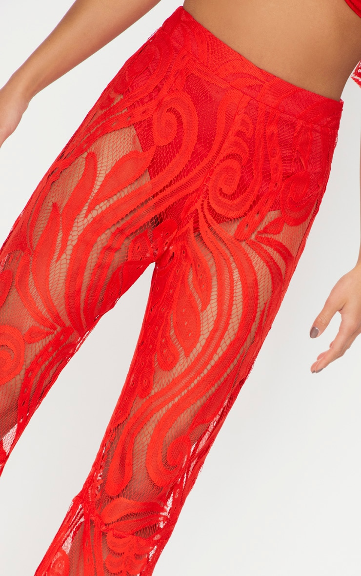 Petite Red Lace Flared Pants 5
